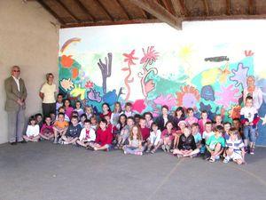Fresque préau école élémentaire de Saint Gence