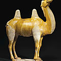 A large ochre and cream-glazed pottery figure of a bactrian camel, tang dynasty (ad 618-907)