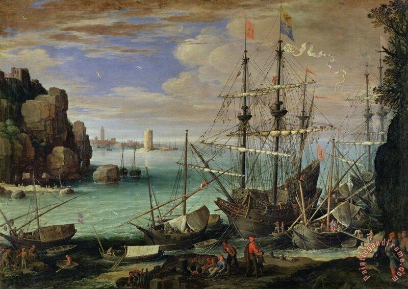 Paul Bril (Anvers, 1554 – Rome, 1626), Vue d'un port de mer, huile sur toile, 107 x 151 cm, Rome, Galleria Borghèse