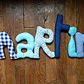 martin,mot en tissu,mot decoratif,cadeau de naissance,decoration chambre d'enfant,cadeau personnalise,cadeau original,poc a poc blog