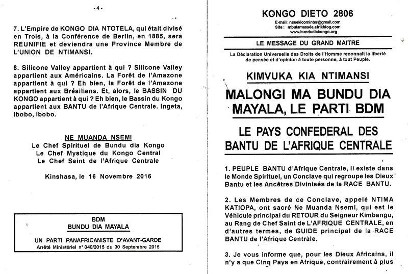 LE PAYS CONFEDERAL DES BANTU DE L'AFRIQUE CENTRALE a