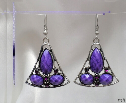 Boucles d'Oreilles Style Tibétain Gyel Perle Et Strass Violet Argent Du Tibet
