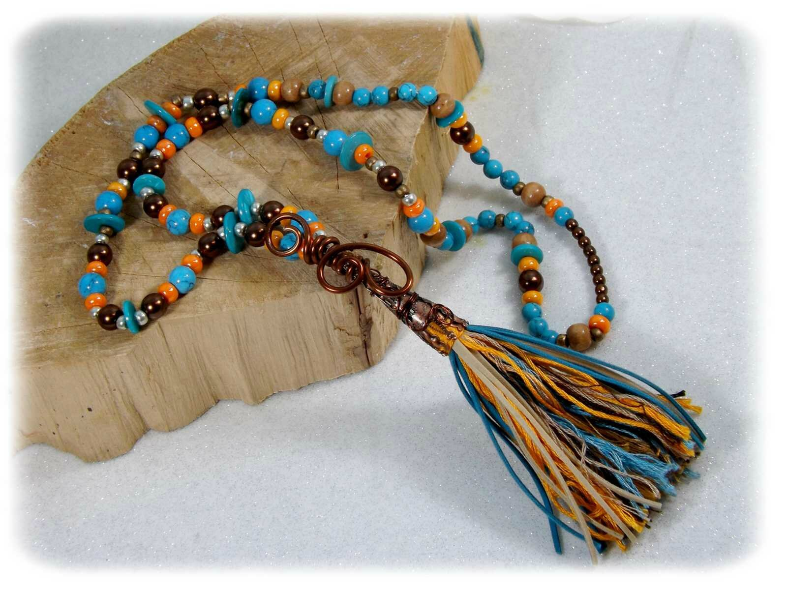 Collier country bohème perles pompon turquoise orange marron fait main