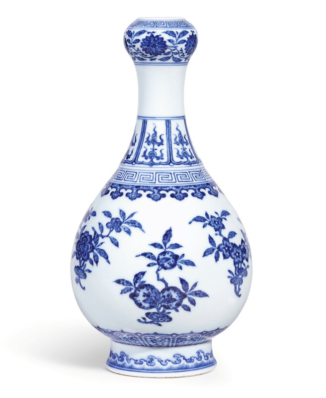 A very fine blue and white 'Flower and Fruit' garlic-mouth bottle vase, seal mark and period of Qianlong (1736-1795)