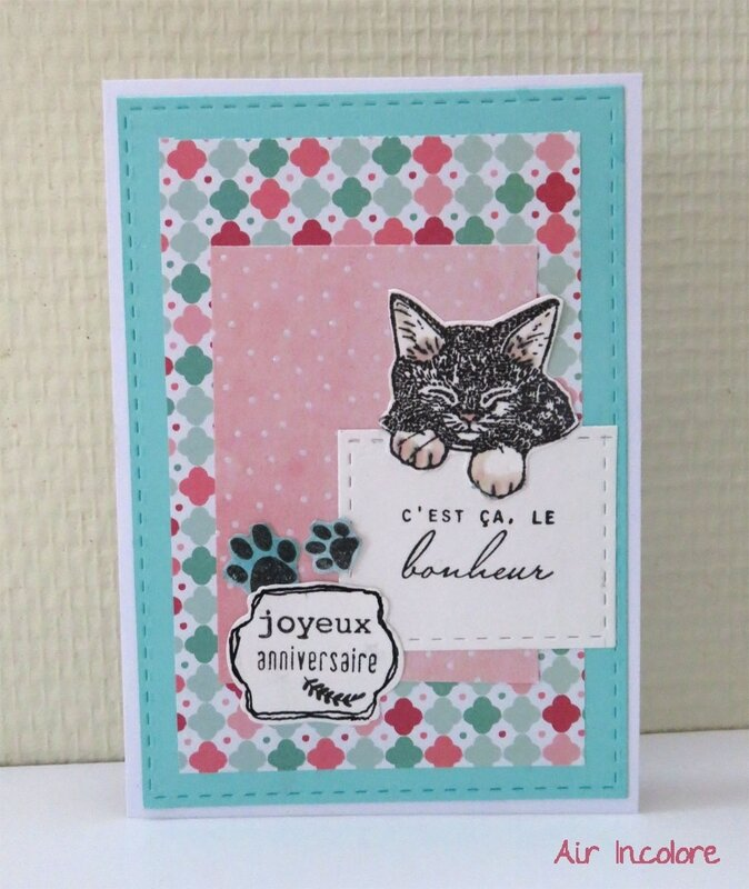 Birthday card with cat, carte d'anniversaire avec chat