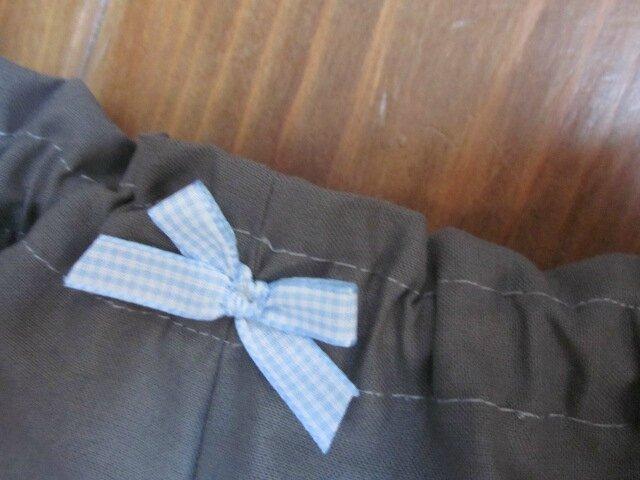 Culotte BIANCA en coton gris - Noeud vichy ciel (1)