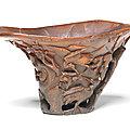 A rhinoceros horn 'auspicious birds' libation cup, 17th-18th century