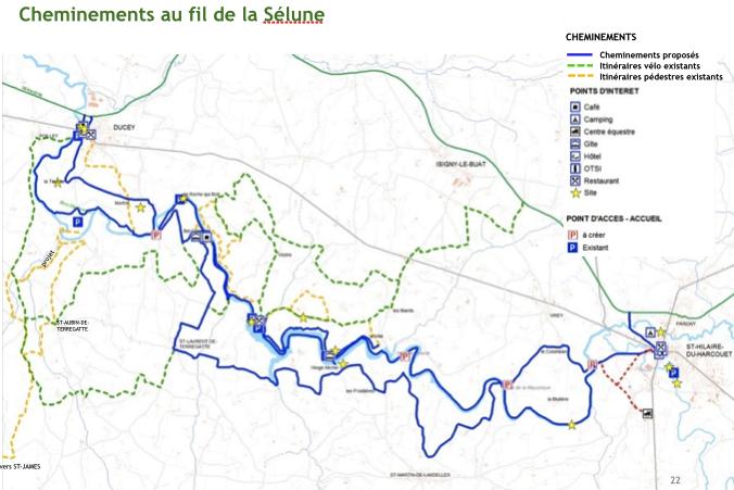 projet valorisation vallée barrage Sélune Pont de la République - cheminements