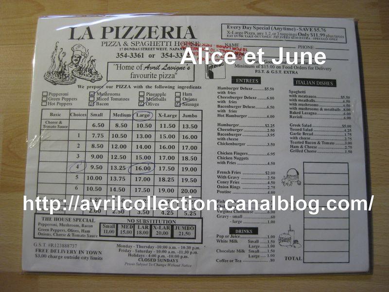 La Pizzeria Napanee-fiche de commande