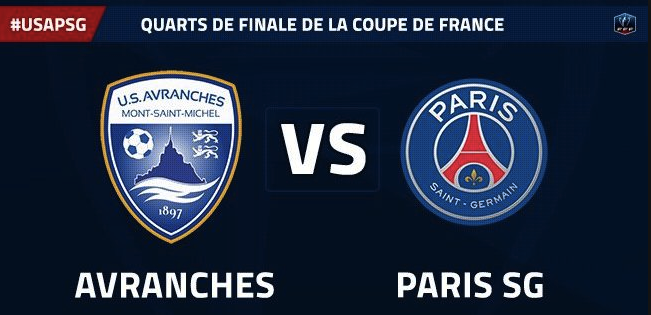 quart de finale coupe de France football Avranches PSG avril 2017