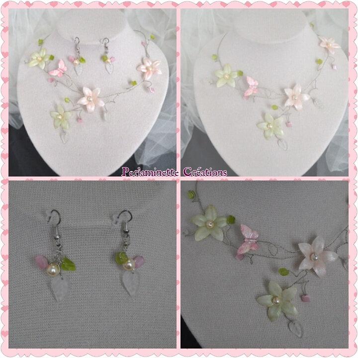 Parure mariée collier et boucles d'oreilles papillon et fleurs, rose vert aanis