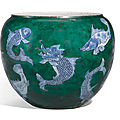 A blue and white and later green enamelled fish jar, qing dynasty, kangxi period (1622-1722)