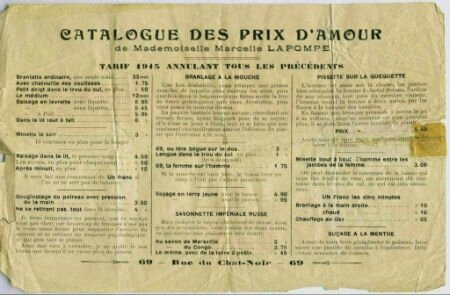Maison close - catalogue 1915