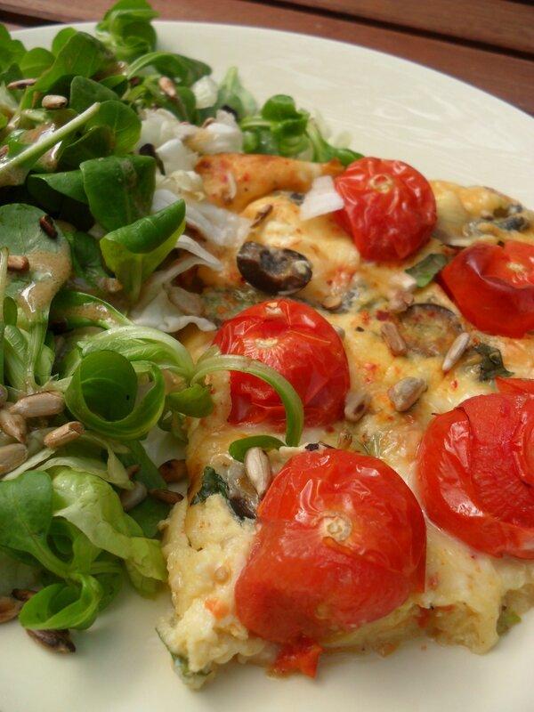 clafouti de tomates cerises chêvre, basilic et olives -kika-cilantro-