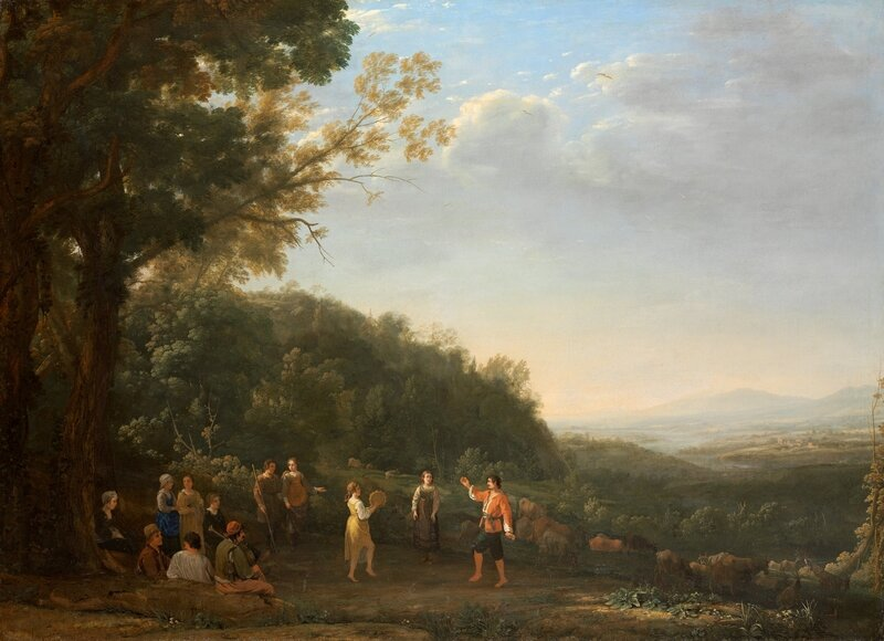 A_Panoramic_Landscape_at_Dusk_with_Rustic_Dancers