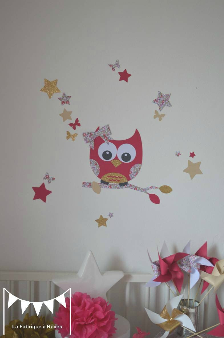 stickers hibou chouette liberty loise rose fuchsia dor beige dcoration chambre enfant bb fille liberty
