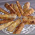 Frites de courgettes panées au four