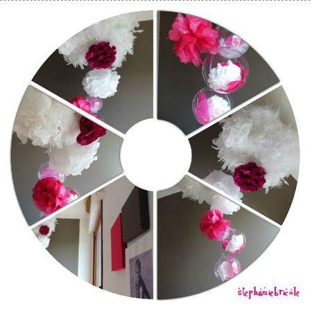 déco composition fleur en papier et plume, idée de déco pour chambre suspension