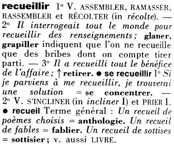 Extrait du Dictionnaire des Synonymes - Larousse, 1977, 1986
