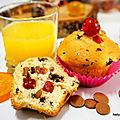 Muffins d'automne au chocolat et fruits confits.