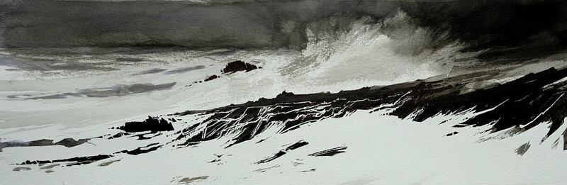 Fabien sur la côte sauvage, encre de chine, 50 x 20 cm, décembre 2019