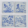 A group of near square blue and white porcelain tiles, 18th century
