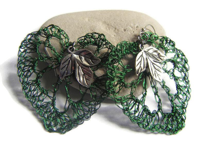 Boucles oreilles métal crocheté montage argent