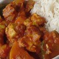 Cari de poulet, courgette et patate douce