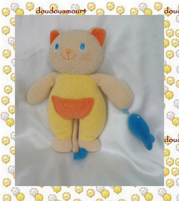 Doudou Peluche Chat Jaune Beige Orange Et Son Poisson Bleu Tricot Chicco