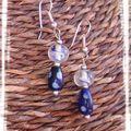 Boucles en verre bleu et blanc (BO74)