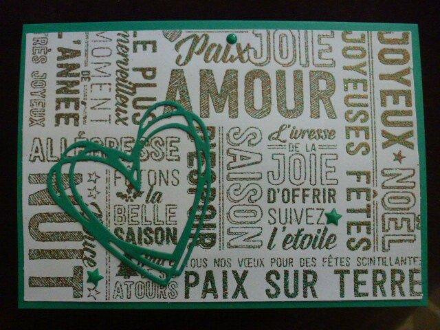 27 Carte Amour Noel Poudre embossée cuivre et émeraude