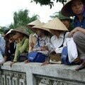Local people before taking the boat to perfume Pagoda
