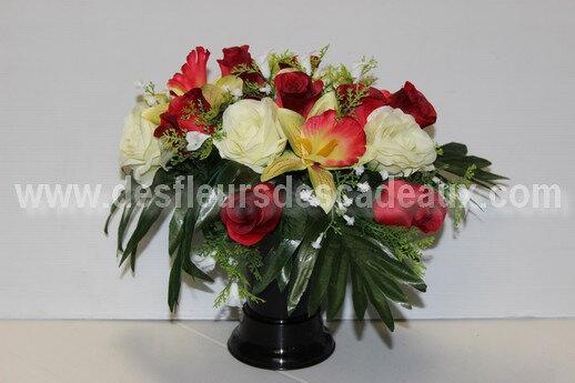 bouquet de fleurs pour vase de tombe en fleurs artificielles (1)