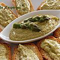 Tartinade d'asperges sur croûtons à l'huile d'olive, sans gluten et sans lactose