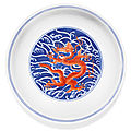 An iron-red and underglaze blue 'dragon' dish, daoguang seal mark and period (1821-1850)