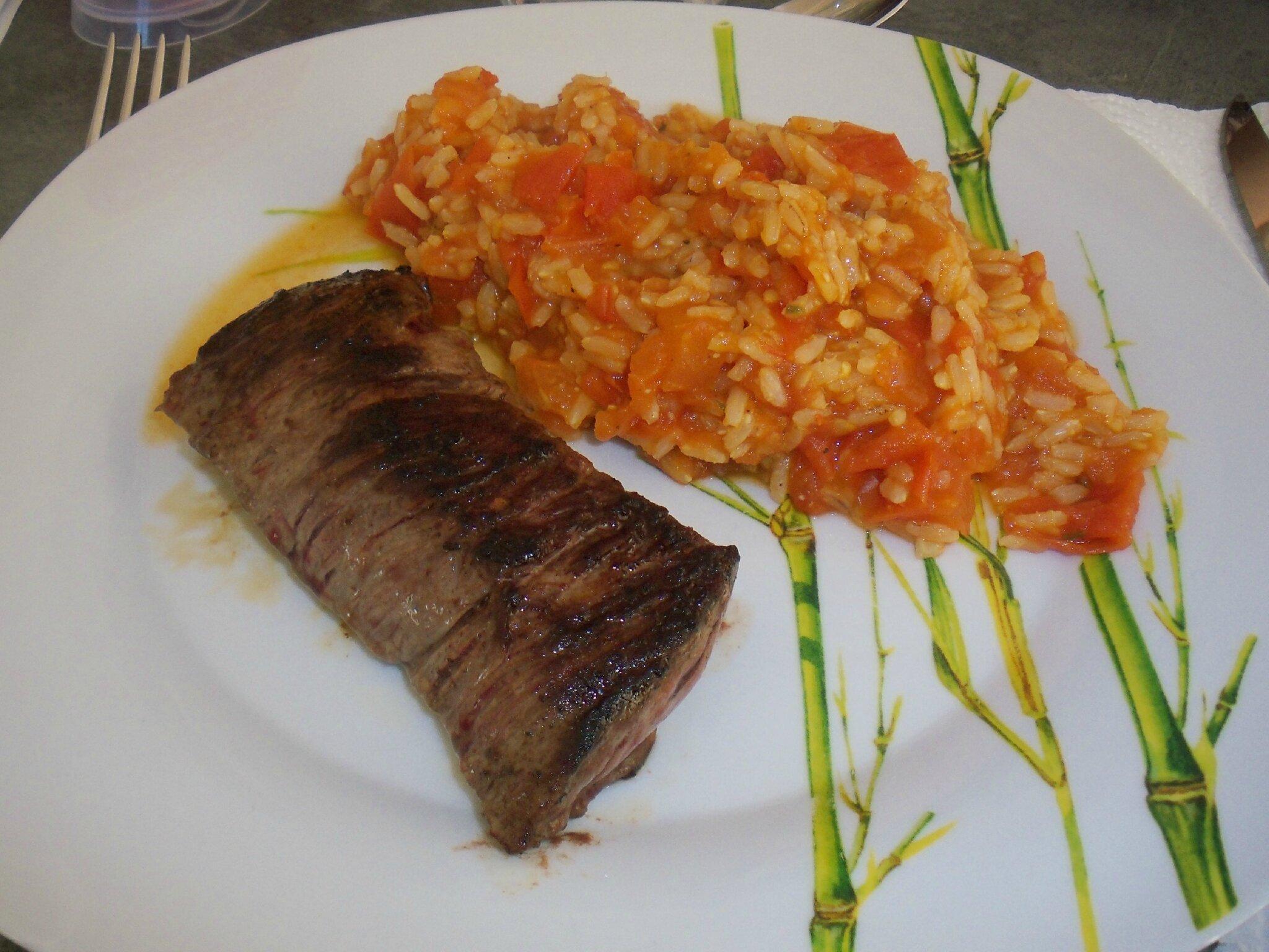 Steack et risotto à la tomate