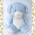 Doudou Peluche Vintage Chien Bleu Et Blanc Truffe Bleue Yeux Marron Clair 35 cm