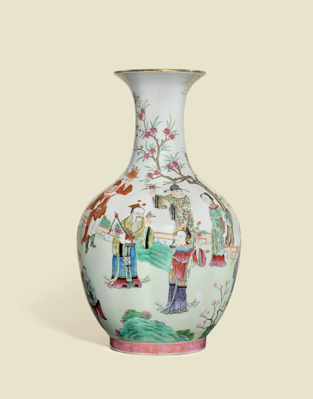 A rare and finely paintedfamille rose'flower spirits' baluster vase, Daoguang six-character seal mark in iron-red and of the period (1821-1850)