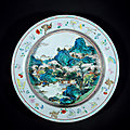 An exceptional yangcai 'phoenix and sun' 'landscape' basin, qianlong period, 1736-1795