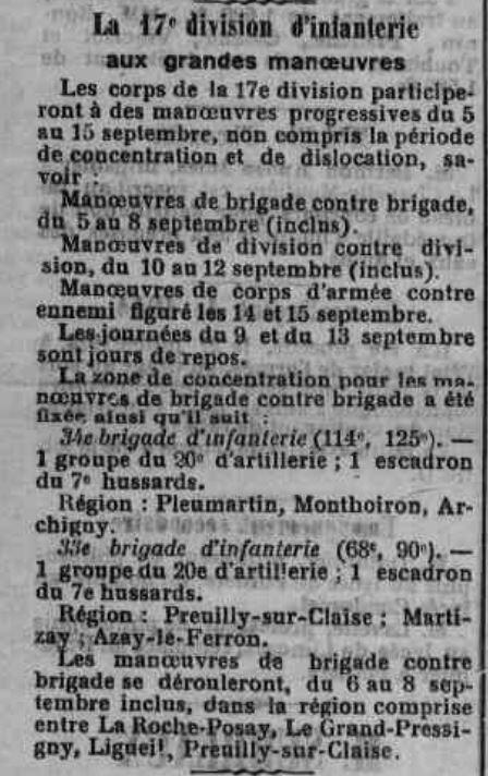 MANOEUVRES 1914