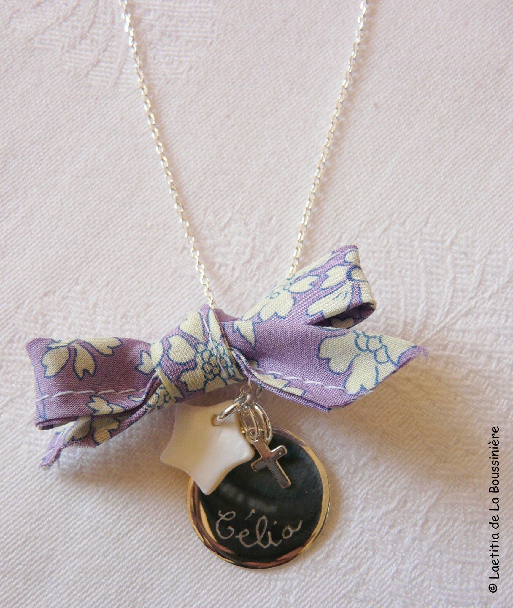 Collier médaille, étoile et Croix (avec noeud en Capel violet) - 70 €