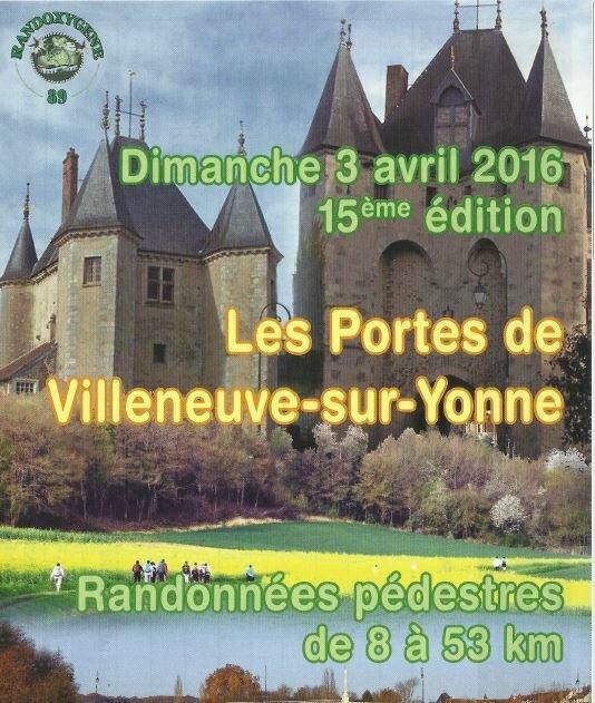 """15ème édition de la randonnée pédestre """"Les Portes de Villeneuve-sur-Yonne"""""""