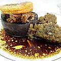 Gigot d'agneau braisé et caviar d'aubergine au thym