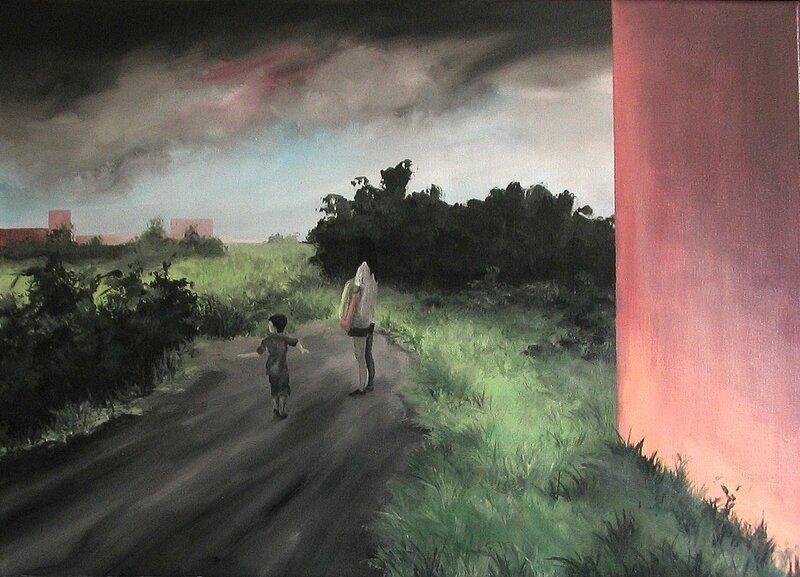Linda Roux, A family I, acrylique sur toile, 70 x 50 cm, 2009
