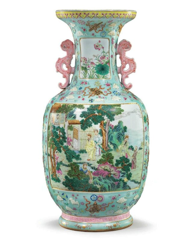 An exceptional rare and large famille rose vase, Qianlong six-character seal mark in iron red and of the period (1736-1795)