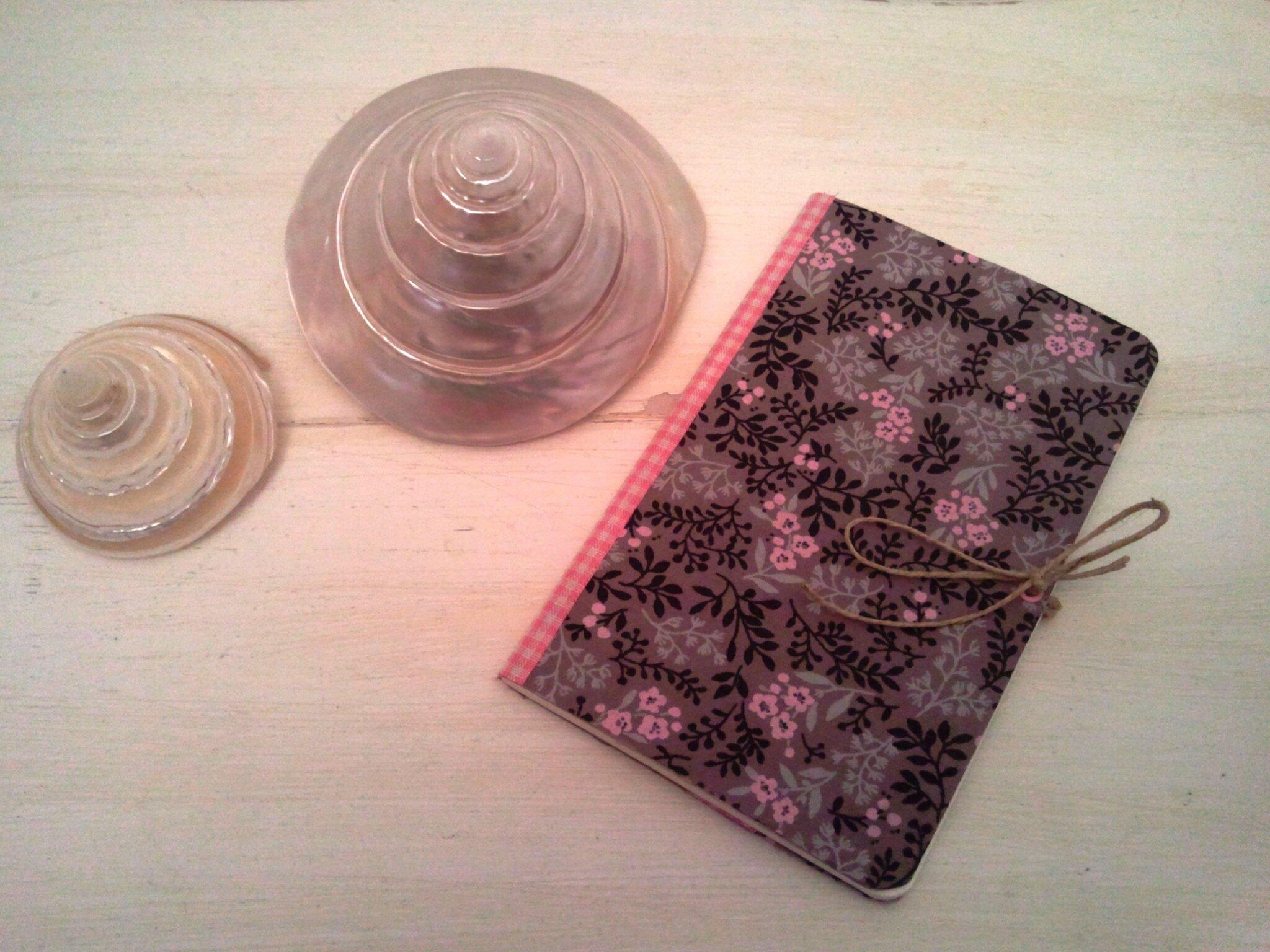Petit Cahier de notes fleuri gris et rose