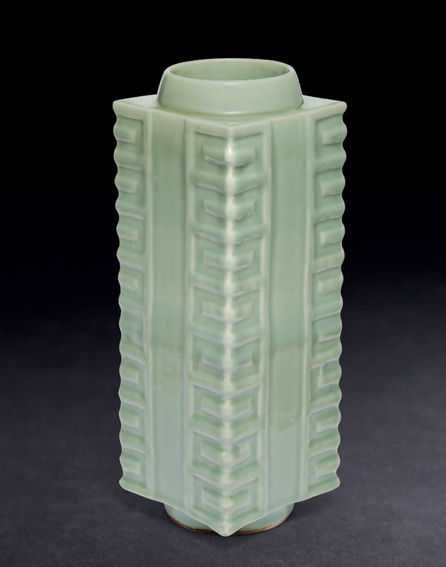 A rare large Longquan celadon cong-form vase, Southern Song dynasty (1127-1279)