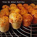 Trio de mini-muffins salés