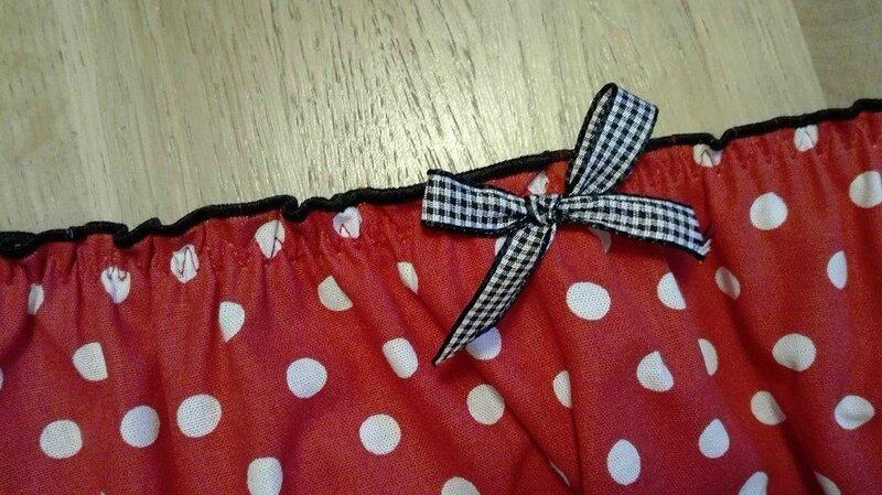 Culotte CHARLOTTE en coton rouge à pois blanc - taille M (1)