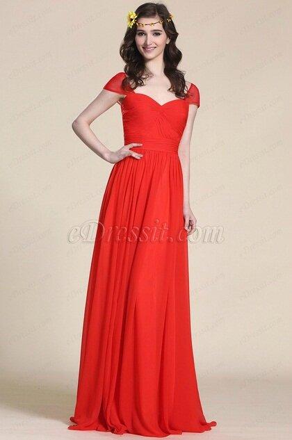 Robe De Soiree Longue Rouge Pour Invitee Mariage Photo De
